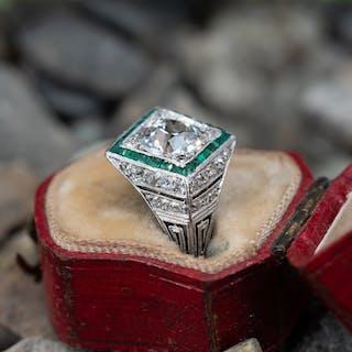 441c367ef 1920's Art Deco Engagement Ring Old Euro Diamond w/ Emerald Halo