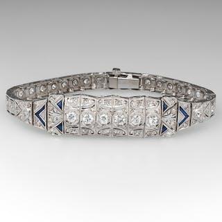 Magnificent Art Deco Diamond Bracelet w/ Sapphire Accents Platinum