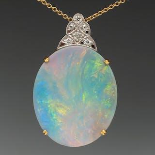 Magnificent Large Opal & Diamond Pendant Necklace 18K Gold