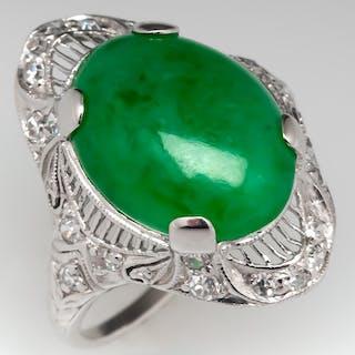 Art Deco Untreated Jadeite A-Jade Ring Filigree & Diamonds