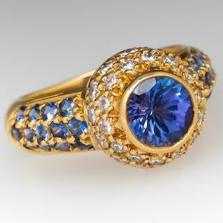 Tanzanite Sapphire & Diamond 18K Yellow Gold Ring