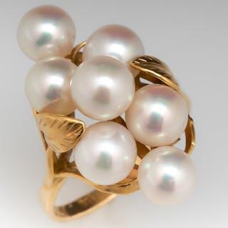 Mings Vintage Pearl Cluster Ring 14K Gold