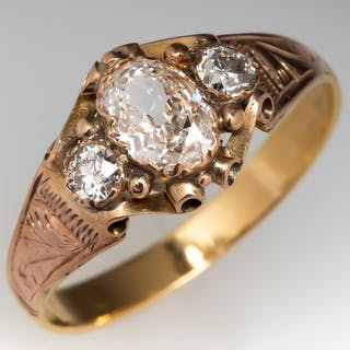 Circa 1880's Victorian Oval & Old Euro Diamond Ring 18K Gold