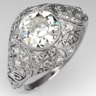 Art Deco Old Euro Diamond Filigree Engagement Ring Platinum 1920's 1.65Ct M/VVS2