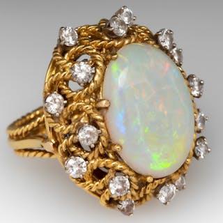 Convertible Opal & Diamond Cocktail Ring/Pendant 18K Gold