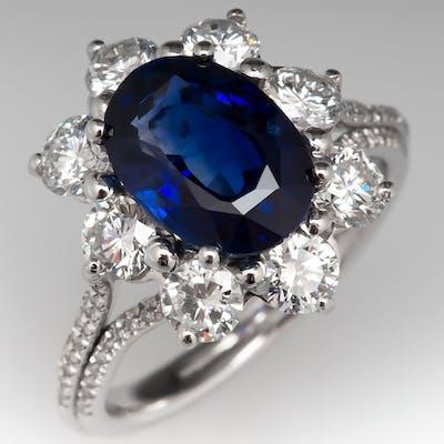 3 Carat Blue Sapphire & Diamond Cocktail Ring Platinum