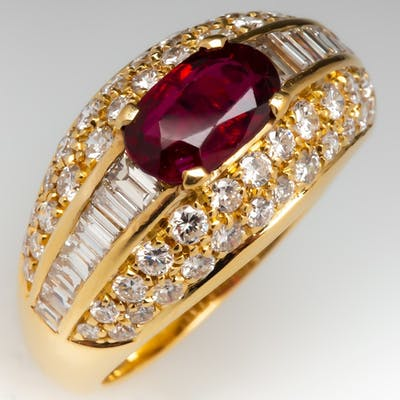 Fred Paris Ruby Diamond Wide Band Ring 18K Yellow Gold