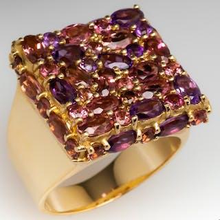 F.R Hueb Brazil Pink Tourmaline & Amethyst Cocktail Ring 14K Gold