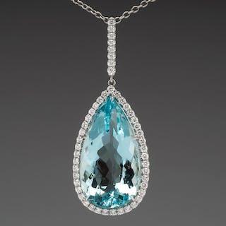 Large Aquamarine & Diamond Pendant Necklace 18K