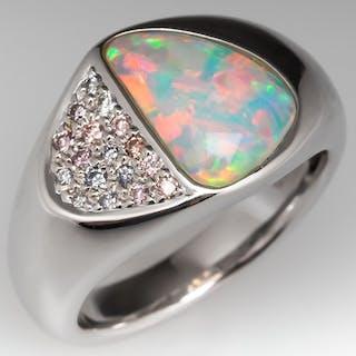 Tremonti Flush Set Opal & Diamond Ring 14K White Gold