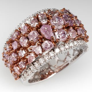 Stunning Wide Band Pink Diamond Cluster Ring 18K Gold