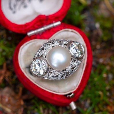 Edwardian Natural Pearl & Old European Cut Diamond Ring 1910's