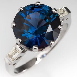 Magnificent 5 Carat Teal Sapphire Ring w/ Baguette Diamond Platinum