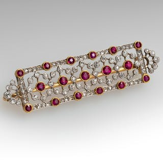 Finely Detailed Vintage Ruby & Diamond Brooch Pin Platinum & 18K Gold