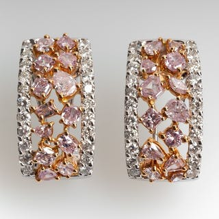 Fancy Pink Diamond Earrings 18K White & Pink Gold