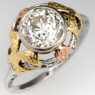 Old European Cut Diamond Engagement Ring Floral Filigree 14K 1.82Ct K/VS2
