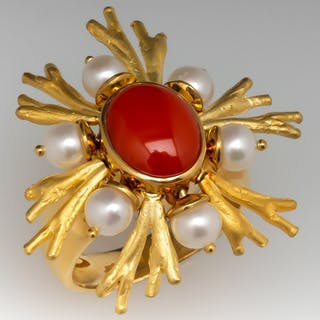 Denoir Brazil Coral Cocktail Ring w/ Pearl Accents 18K Gold