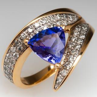 37f240098 Tanzanite & Diamond Cocktail Ring 14K Yellow Gold