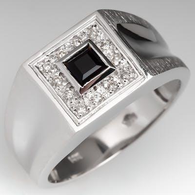 Mens Bezel Set Square Onyx Ring w/ Diamond Accents 14K White Gold