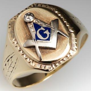 Antique Masonic Mens Diamond & Enamel Ring 10K Gold