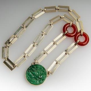 1940's Retro Carnelian & Jadeite Disc Necklace 14K