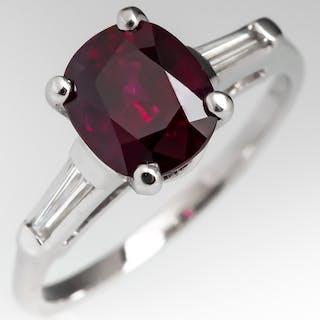 2.2 Carat Ruby & Baguette Diamond Engagement Ring Platinum
