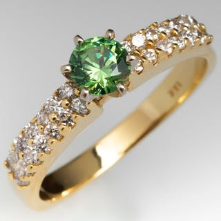 Yellow Green Demantoid Garnet w/ Horsetail Inclusion & Diamond Ring 18K