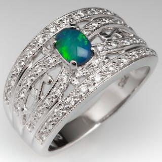 Black Opal & Diamond Wide Band Ring 18K White Gold
