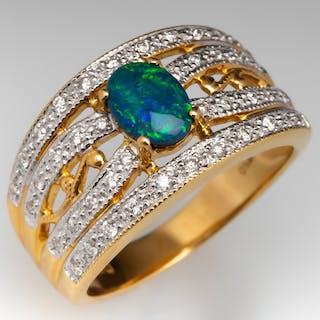 Black Opal & Diamond Wide Band Ring 18K Yellow Gold