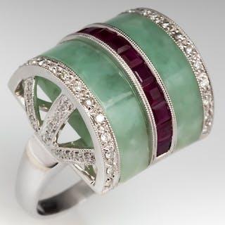 Sheentiff Jadeite Jade & Ruby Cocktail Ring 18K w/ Diamond Accents