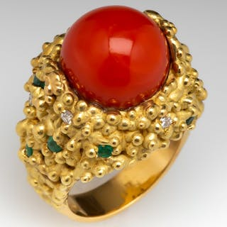 Orangey Red Coral Cocktail Ring 18K Gold w/ Diamond & Emerald Accents