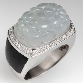Floral Carved Jadeite Jade Cocktail Ring 18K White Gold
