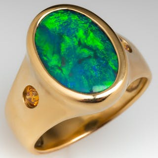 Magnificent Black Opal & Diamond Bezel Ring 14K Gold