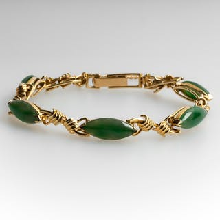 Untreated Jadeite Jade Bracelet 14K Gold