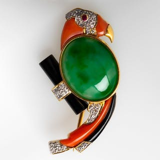 Untreated Jadeite A-Jade Bird Pin 18K Gold
