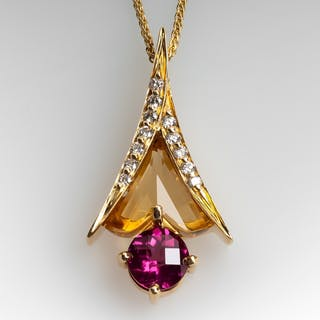 Galatea Citrine Garnet & Diamond Pendant Necklace 14K Gold
