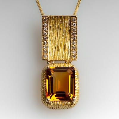 "Michelle Albala Madeira Citrine Pendant w/ Diamonds 18"" Chain 18K Gold"