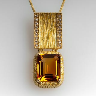 "Michelle Albala Madeira Citrine Pendant w/ Diamonds 18"" Chain 18K Gold"