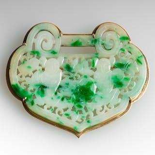 Moss In Snow Jadeite Jade Chinese Lock Motif Brooch Pin 14K Gold