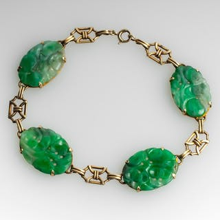 Vintage Jadeite Jade 4 Station Bracelet 14K Gold
