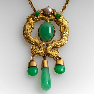 Jadeite Jade & Pearl Dragon Necklace 14K & 18K Yellow Gold
