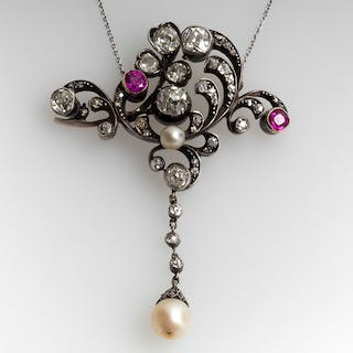 Circa 1870's Beautiful Pearl Pink Sapphire Diamond Pendant Necklace