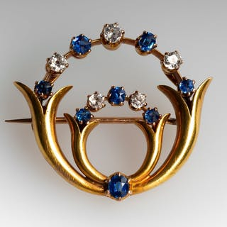 Antique Brooch w/ Sapphires & Diamonds in 18K Yellow Gold
