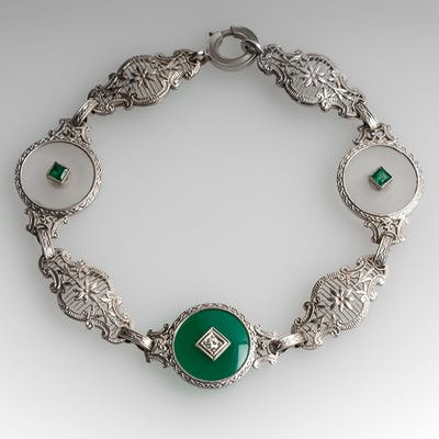 Late Art Deco Disc Bracelet w/ Emerald & Diamond Accents 14K