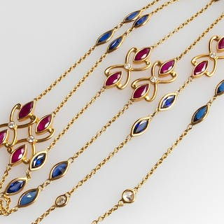 Marquise Bezel Set Sapphire Ruby Diamond Necklace 18K Gold