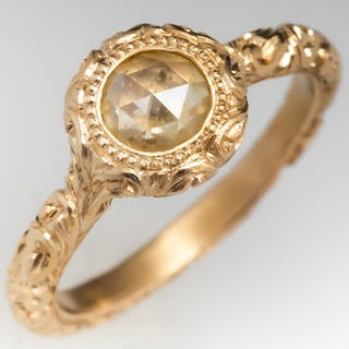 Rose Cut Diamond Bezel Ring Engraved 18K Gold