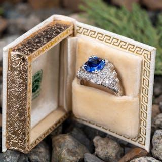 2.6CT Blue Sapphire & Diamond Art Deco Platinum Engagement Ring