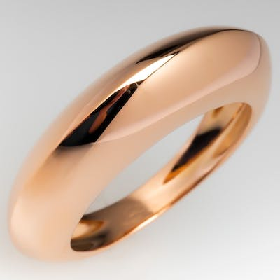 18K Rose Gold Dome Ring Italy Size 6.5