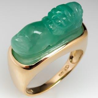 Carved Jadeite Jade Animal Figure Ring 14K Gold