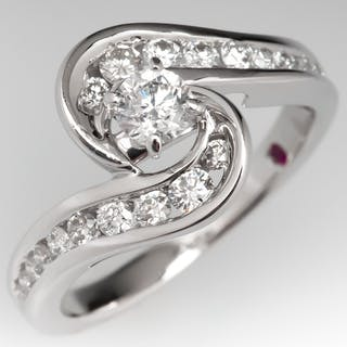 ebcf0d03c93c00 1/2 ct TW Diamond Bypass Ring in 14k White Gold – Realized prices ...